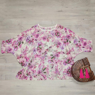 Vintage Pink Floral Draped Top - Floral Collection
