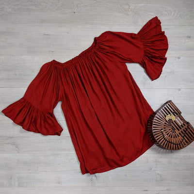 Rust Off-Shoulder Sabrina Top