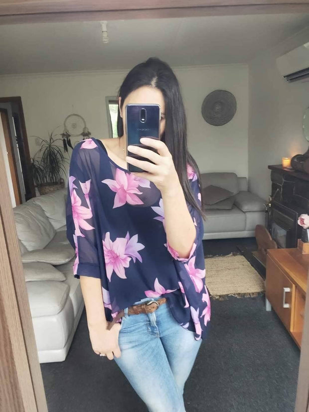 Navy & Fuschia Floral Draped Top - Floral Collection