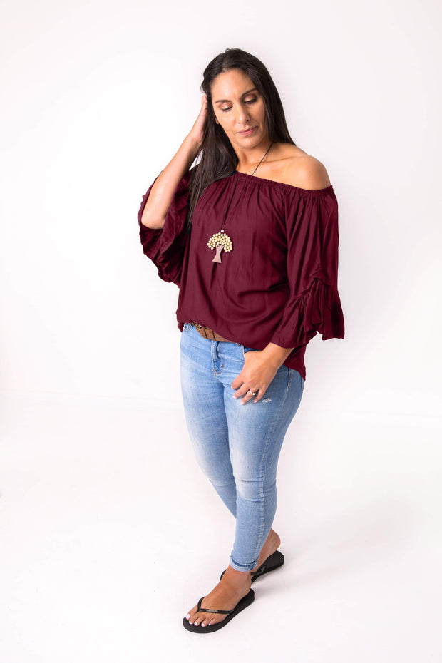 Wine Off-Shoulder Sabrina Top