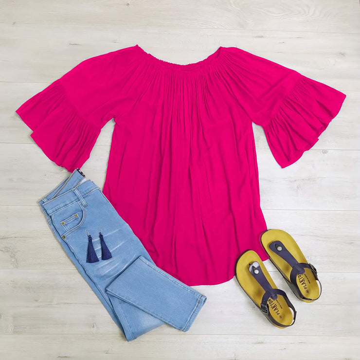 Hot Pink Off-Shoulder Sabrina Top