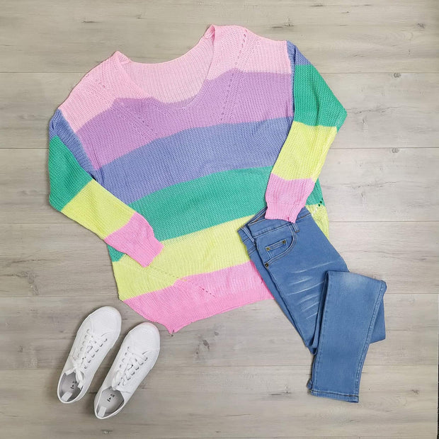 Slouchy Rainbow Knit