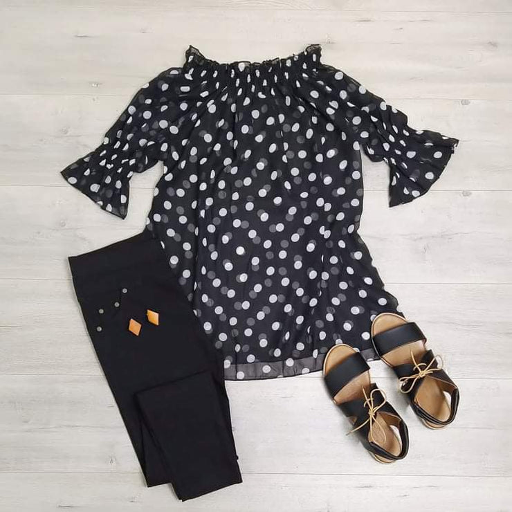 Off-shoulder Polka Dot Tunic