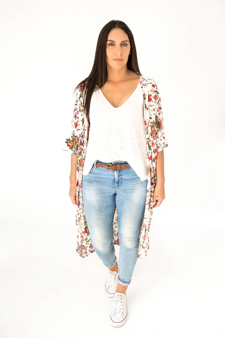 Long Cream Secret Garden Kimono