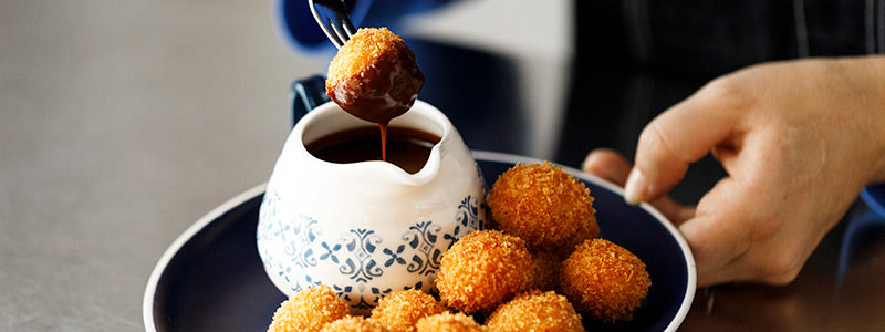 Horchata Arancini with Mexican Coffee Dipping Sauce