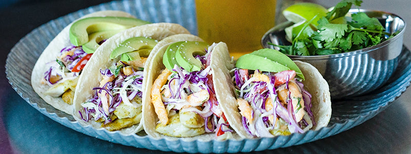 Fish Tacos with Mango Slaw and Chipotle Lime Aioli