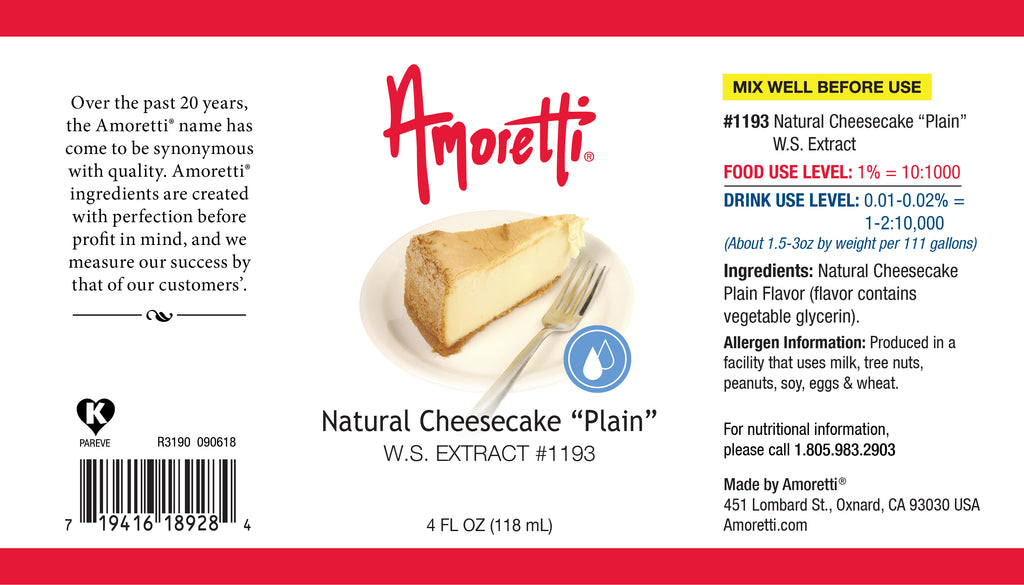 "Natural Cheesecake ""Plain"" Extract Water Soluble"