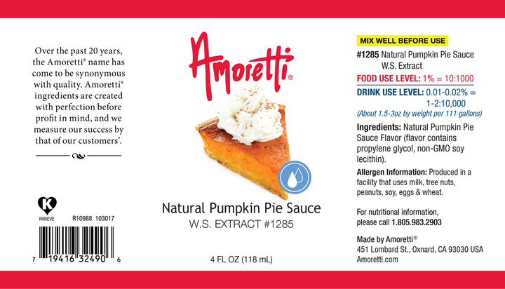 Natural Pumpkin Pie Sauce Extract Water Soluble