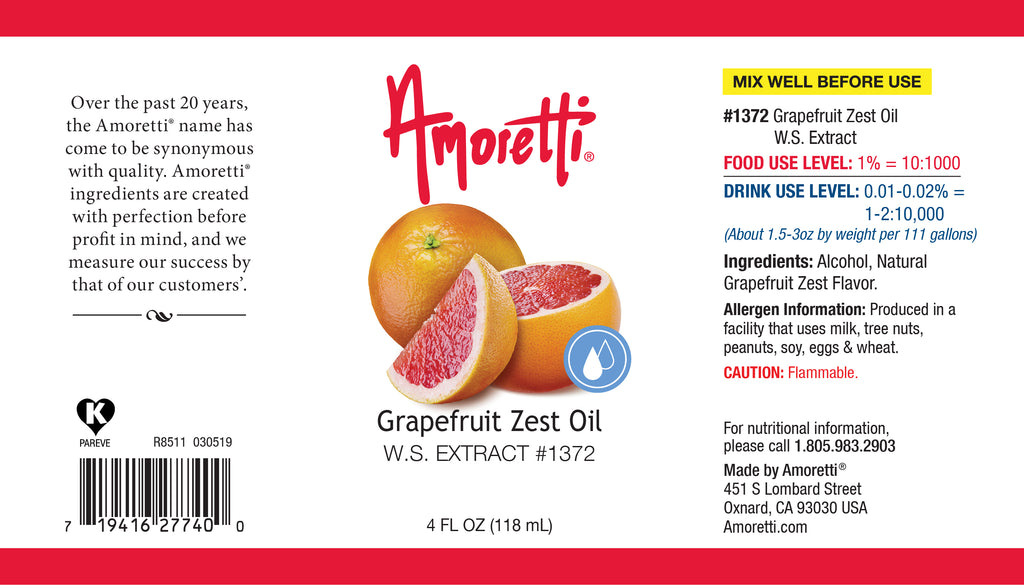 Natural Grapefruit Zest Oil Extract Water Soluble