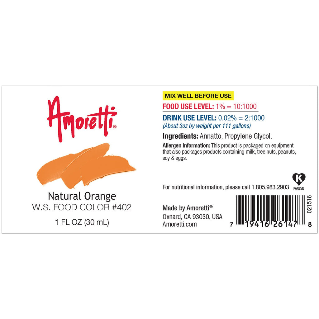 Amoretti Natural Orange Food Color W.S