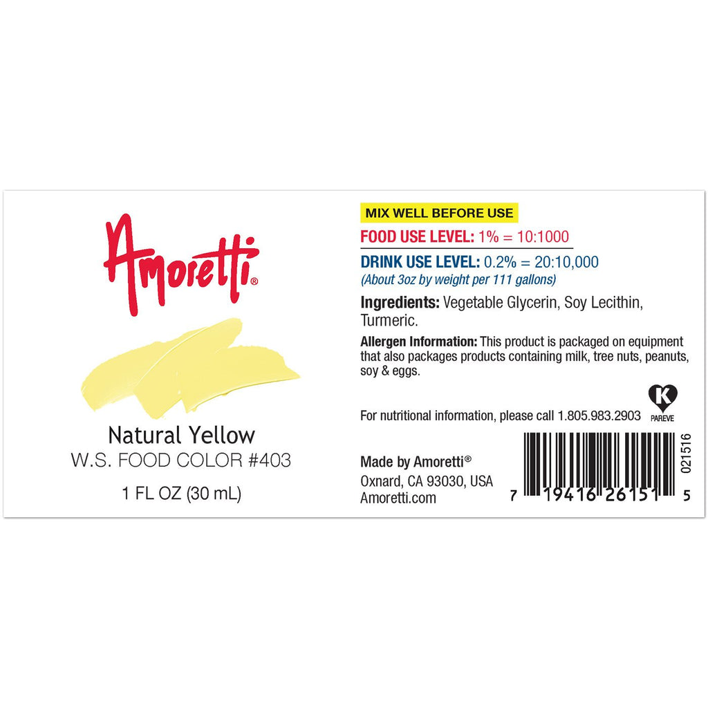 Amoretti Natural Yellow Food Color W.S