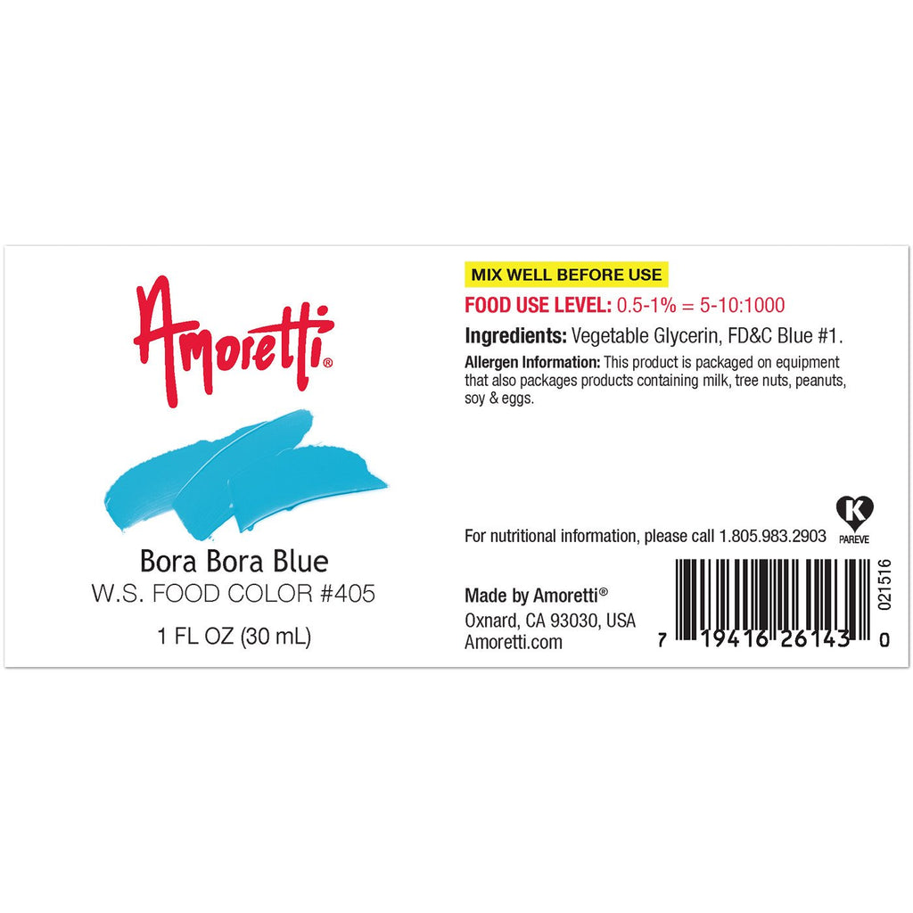Amoretti Bora Bora Blue Food Color W.S