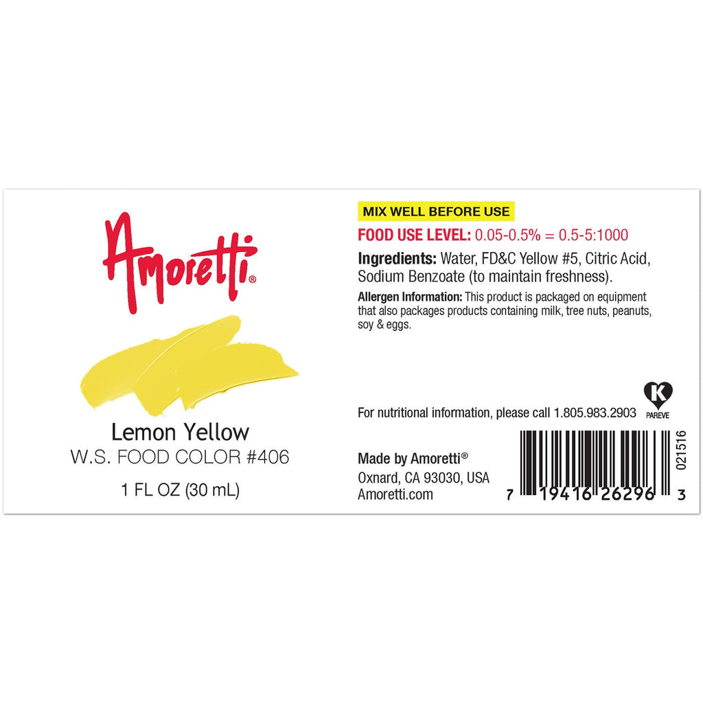 Amoretti Lemon Yellow Food Color W.S