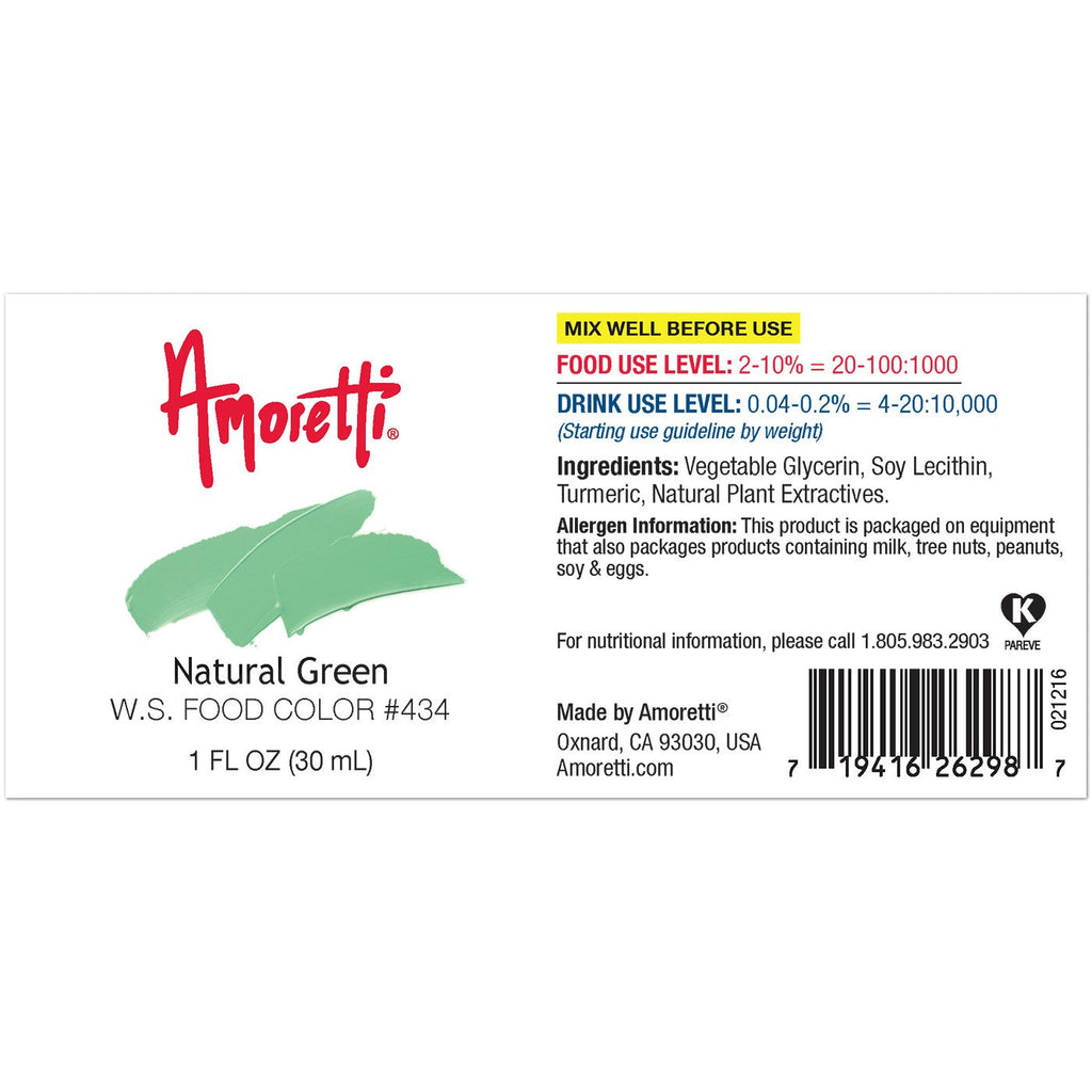Amoretti Natural Green Food Color W.S