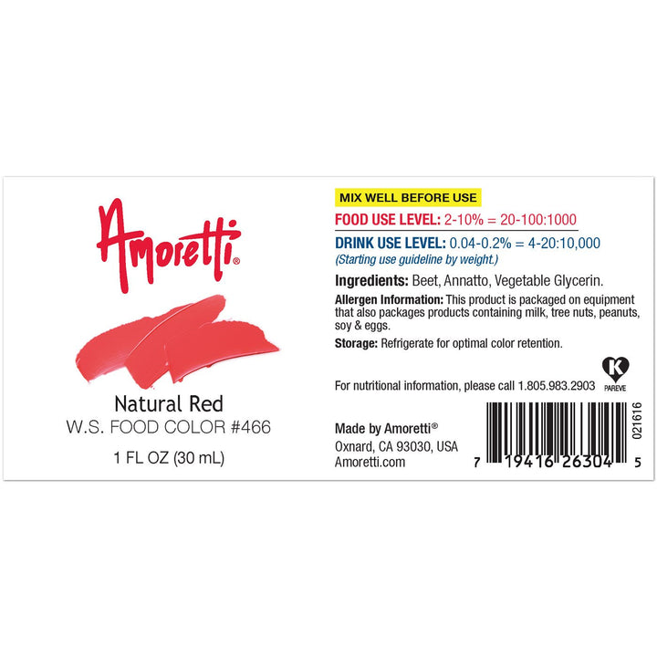 Amoretti Natural Red Food Color W.S