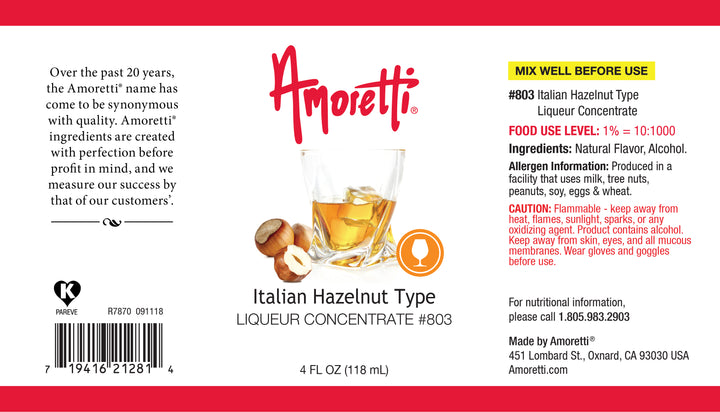 Italian Hazelnut Type Liqueur Concentrate