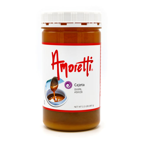 Amoretti's Cajeta Marbleizing Swirl captures the delightfully sweet nuttiness and rich, creamy taste of caramelized milk found in cajeta for an extra-special treat.
