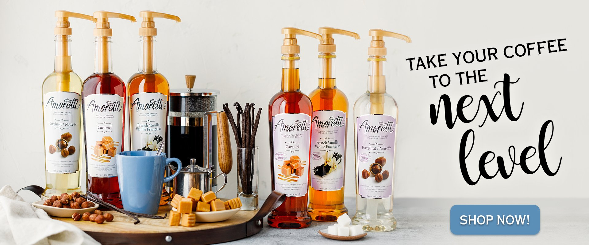 Take your coffee to the next level with Amoretti Premium Syrups & Sugar Free Flavorings