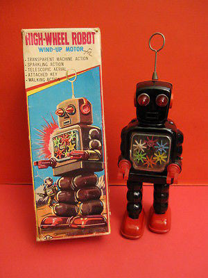 KO JAPAN HIGH WHEEL ROBOT + Original box 1960 SPACE TOY