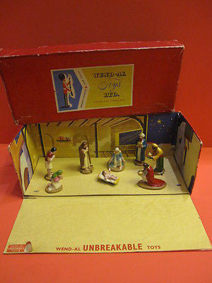WEND-AL CHRISTMAS NATIVITY SET with original box 1950 QUIRALU