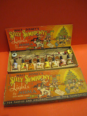 NOMA SILLY SYMPHONY WALT DISNEY's MAZDA LAMPS Christmas tree set 1930