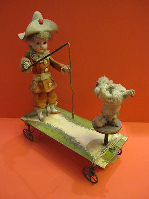 BISQUE HEAD Trainer & performing poodle FRENCH PULL ALONG TOY 1890