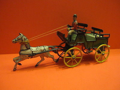 GREPPERT & KELCH LARGE WIND UP CARRIAGE WITH HORSE Germany 1910