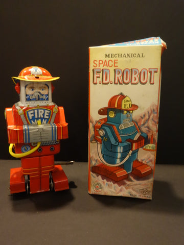 SY YONEYA MECHANICAL SPACE FD ROBOT + original box space tin toy