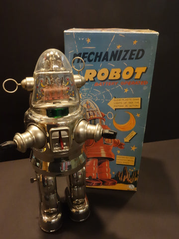 OTTI  ROBBY NICKEL PLATED Mechanized Robot MIB