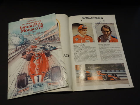 GRAND PRIX MONACO 1978 program SIGNED by 9 DRIVERS LAUDA HUNT WATSON ...