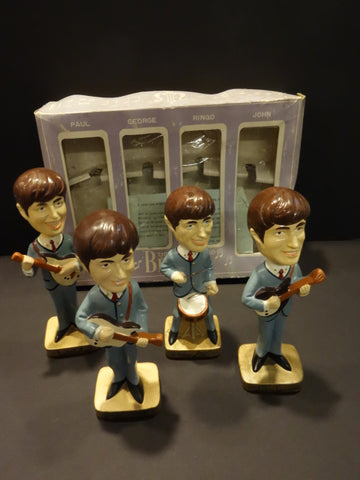THE BEATLES BOBBIN HEAD SET CAR MASCOTS INC 1964 JAPAN Mint + box