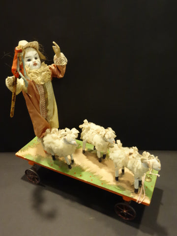 BISQUE head Shepherd Clown & 3 sheeps AUTOMATA 1890