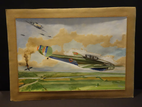 GUY LEGAY Watercolor POTEZ 63 FIGHTING MESSERSCHMITT Signed Dated 1940 WW2