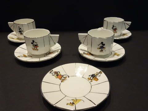ONNAING Mickey Mouse 4 tea cups Walt Disney France 1930
