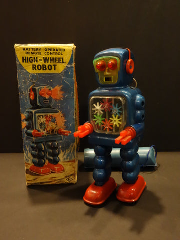 YOSHIYA Blue High Wheel Robot + Original box 1965