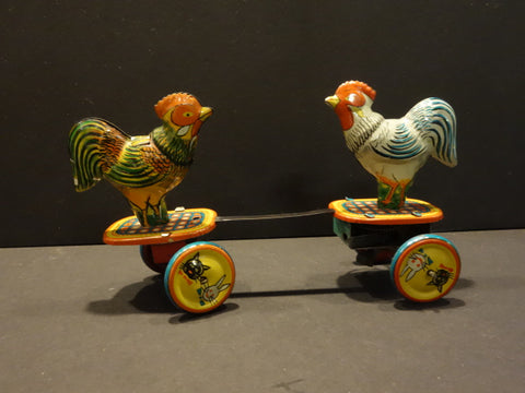 ROOSTER FIGHTING Mechanical wind up TIN TOY Japan 1950