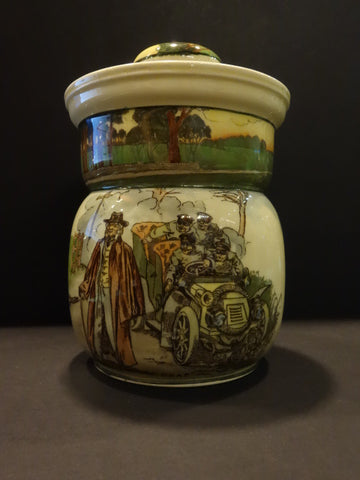 "ROYAL DOULTON ""DEAF"" Motoring Series Humidor jar England 1910"