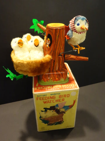LINEMAR FEEDING BIRD WATCHER Battery operated + original box 1950