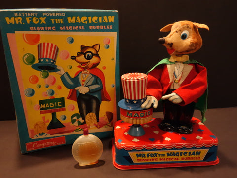 YONEZAWA Mr Fox the Magician Bubbles + Original Box 1960
