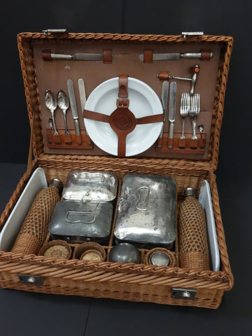 DREW & SONS Luxury WICKER & LEATHER PICNIC BASKET Silverware 1920-30