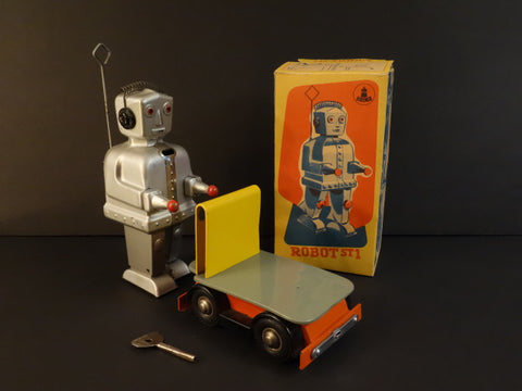 STRENCO Robot ST-1 AND Yellow Cart + Original box Germany 1956