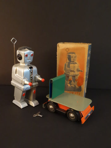 STRENCO Robot ST-1 AND Green Cart + Original box Germany 1956