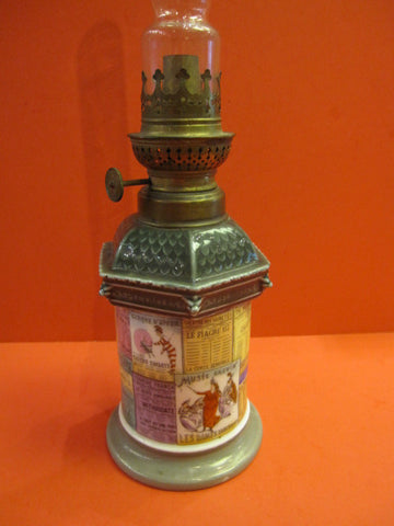 PARIS Colonne Morris Figural oil lamp CIRCA 1880