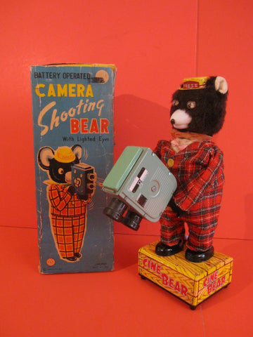 LINEMAR TV Camera Shootin Bear +Original Box 1950