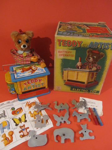 YONEZAWA Teddy the Artist + Original Box 1965