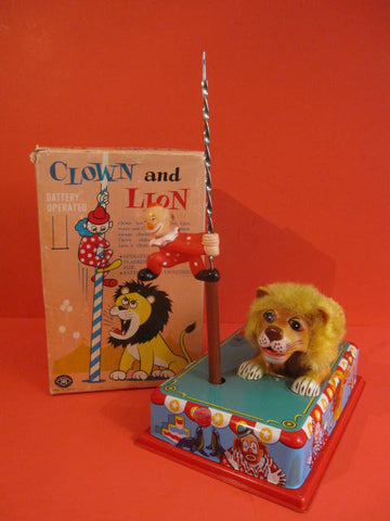 MASUDAYA Clown & Lion Battery Operated + Box 1960