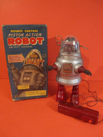 NOMURA Piston Action Robot Robby +Original Box 1957