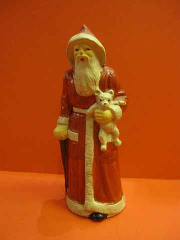 SANTA CLAUS with Teddy Bear Candy Container France 1950
