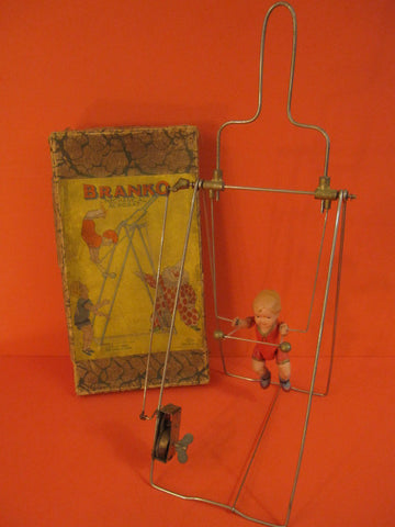 KURAMOCHI Branko Acrobat Celluloid Wind Up + Box Japan 1930