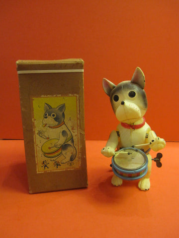 KS Bozo Drummer Dog Celluloid + Box Japan 1930
